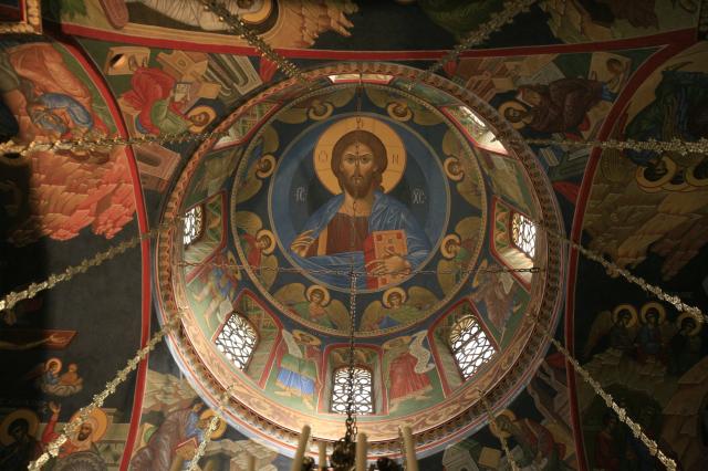 Coupole de l'eglise Saint-Silouane. Christ Pentocrator.