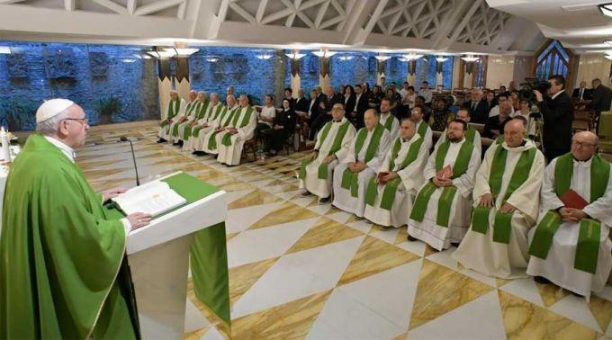 apa Francisco nesta manhã na Missa na Capela da Casa Santa Marta. Foto: Vatican Media / ACI Prensa