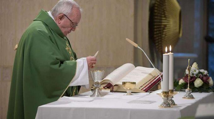 Papa Francisco durante a Missa. Foto: Vatican Media
