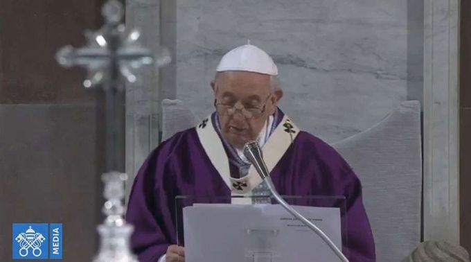 Papa Francisco durante a Missa. Foto: Captura de Youtube